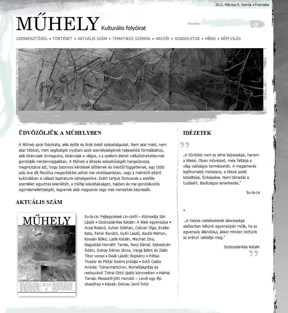 GYŐRI MŰHELY folyóírat weblapja
